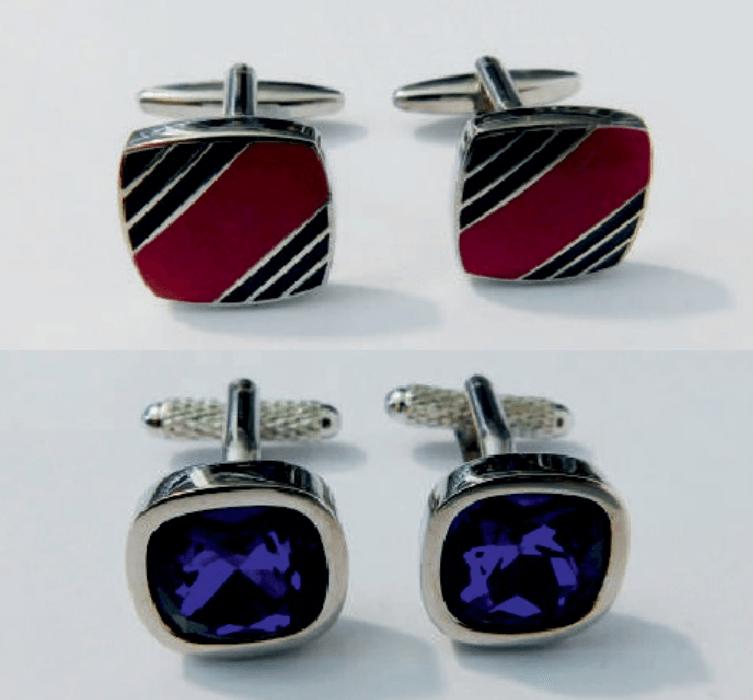 gemelos para traje dibujo rojo y azul