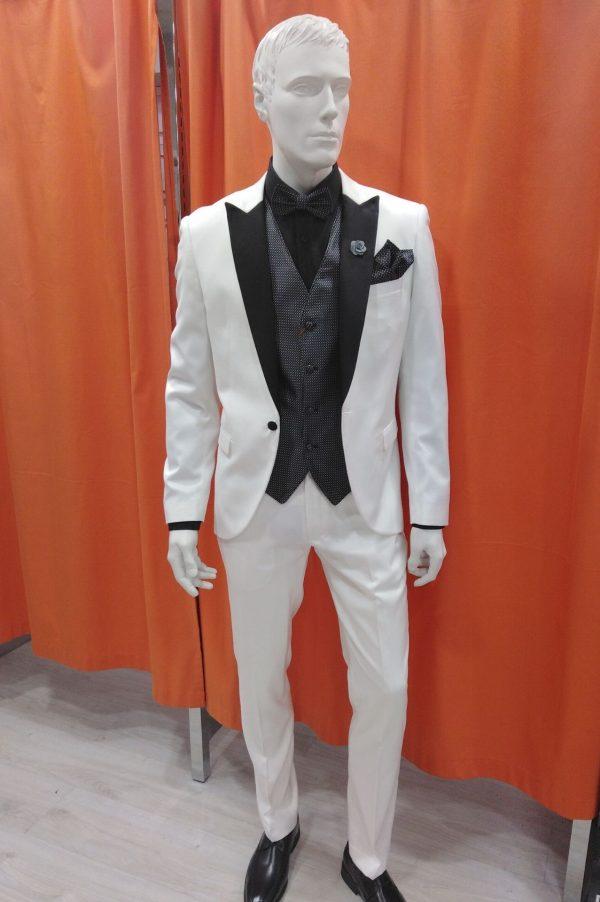 Traje de fiesta y ceremonia blanco con chaleco