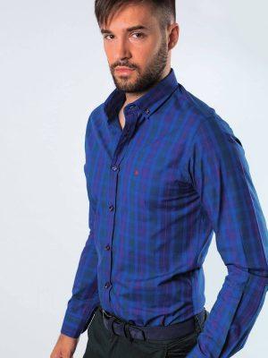 Camisa azul con dibujo de cuadros de sport Conecta Moda Joven Granada