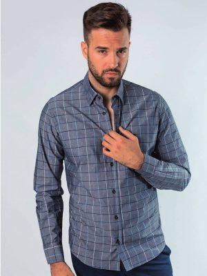 Camisa gris con dibujo de cuadros de sport Conecta Moda Joven Granada