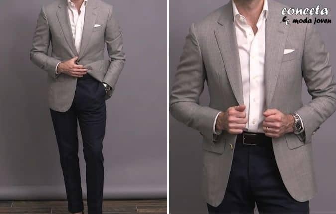Chaqueta gris jaspeada con pantalón chino azul marino