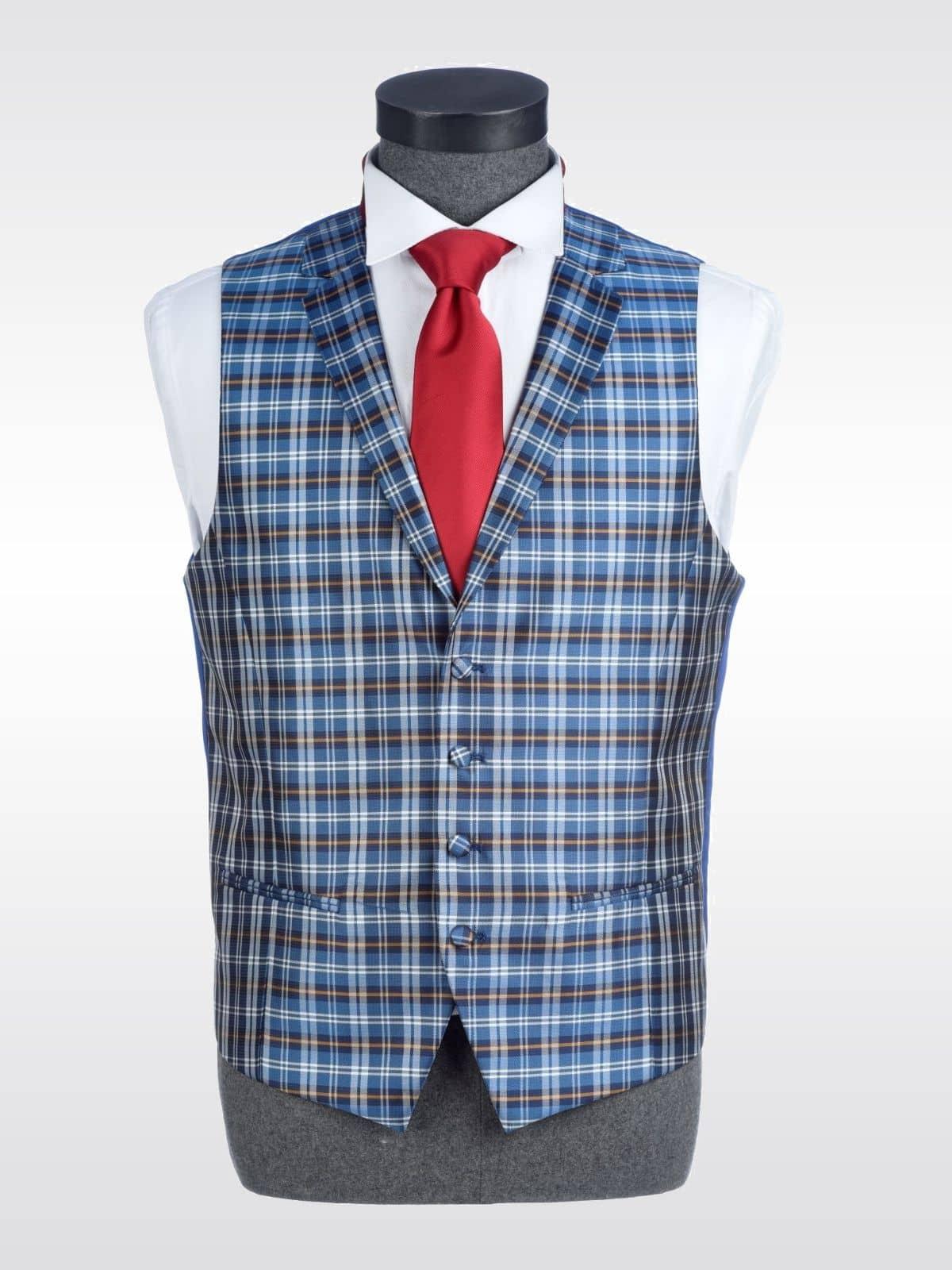 Chaleco de cuadros azul para traje Conecta Moda Joven Granada