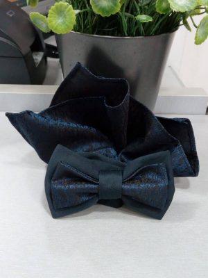 Pajarita de cachemir azul marino con pañuelo Conecta Moda Joven Granada