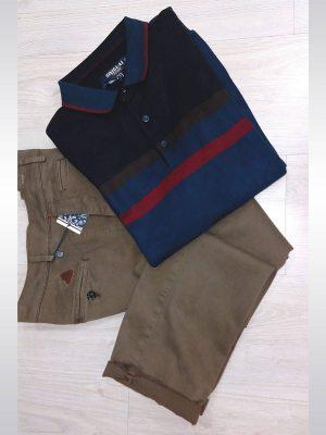 Pantalón chino de vestir marrón entallado slim fit Conecta Moda Joven Granada