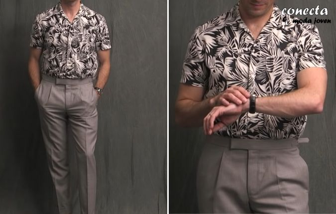 Conjunto de camisa informal con pantalón de traje gris claro