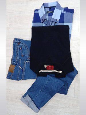 Pantalones vaqueros azules entallados slim fit para hombre Conecta Moda Joven