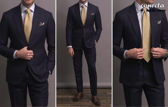 Traje azul marino estilo formal